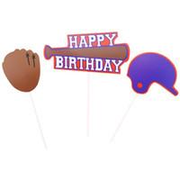 decoraciones del partido de fútbol al por mayor-3pcs Cake Cupcake Toothpick Toppers Soccer Cup Baseball Series Decoraciones de pasteles frescos para el postre de la fiesta