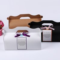 Wholesale Card Cake Boxes - 27.5*10.5*7.5cm Kraft Card Paper DIY Party Muffin Cake Box With Handle Cupcakes Holder Packing wen5074