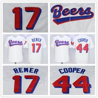 Wholesale Cooper Man - Stitched Milwaukee Beers #44 Joe Cooper 17 Doug Remer Film Button Down White Retro Movies Baseball Jerseys
