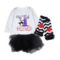 schwarze lange rockanzug großhandel-Baby 3-teiliger Anzug Mein 1. Halloween Mädchen Halloween Kleidung Sets Printed Strampler Langarm Schwarz Rock Pumpkin Socken 0-18M