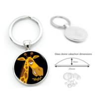 gafas de jirafa al por mayor-Giraffe Glass Cabochon Llaveros Colgantes Accesorios Al Por Mayor