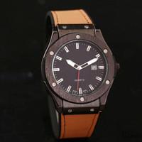 Wholesale leather belt color men for sale - New Simple classic design calendar quartz men s Watches leather interlayer Silica gel Watch strap Fashion man Watches