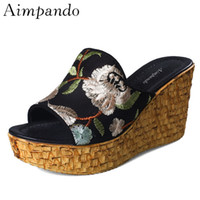 Wholesale chinese wedges shoes - Platform Shoes Woman Thick Heel Retro Chinese Style Embroidery Outwear Wedges Summer Slippers Women