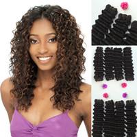 tejidos de pelo mezclado al por mayor-New Deep Wave Curl Weaving Trama para el cabello Mezcla para el cabello humano Futura Synthetic Fiber Mixed Hair Extension Curly