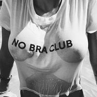 ingrosso maglietta tascabile delle donne-New Sexy Crop Top NO BRA CLUB Donna Harajuku T-shirt in cotone bianco O collo Breve Sheer Short T Shirt Casual Street Tops