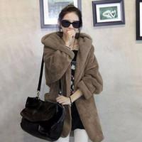 gri kazaklı kadın toptan satış-Zarif Kadınlar Kalın Sıcak Kürk Gevşek Kabarık Polar Ceket Kazak Abrigos Mujer Panço Hırka Yüksek Bel Gri Siyah Palto