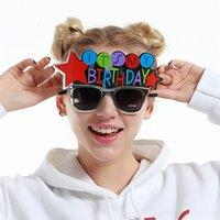 maskeli doğum günü partisi malzemeleri toptan satış-Onun Doğum Günü Güneş Gözlüğü Ziyafet Süslemeleri Yaratıcı Komik Gözlük Simli Masquerade Ball Prop Olay Parti Malzemeleri 9sf C