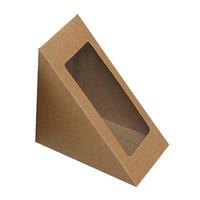 dreieck kuchen süßigkeiten boxen großhandel-Dreieck Kraftpapier Box Hochzeit Süßigkeiten Geschenk Weihnachten Obst Pie Pizza Käse Kuchen Geschenk Verpackung Boxen