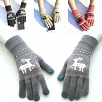 Wholesale warm gloves for women pink resale online - 2018 Knitted Deer Touch Screen Gloves For Women Christmas Gift Autumn Winter Warm Knitting Wool Elk Touch Screen Mittens Styles H918Q