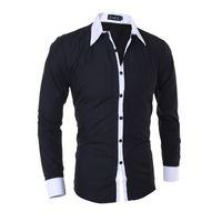 casual mais tamanho vestidos de manga longa venda por atacado-MarKyi designer camisas casuais 2017 nova marca listrado remendado manga comprida mens dress camisas plus size 2xl