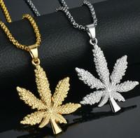 akçaağaç yaprağı kolye gümüş toptan satış-Erkekler Için altın Zincirler Hip Hop Takı Gümüş / Altın Kaplama Maple Leaf Kolye Uzun Altın Zincirler Hip Hop Bling Kolye Mujer Out Out Zinciri