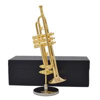 beste hausgeschenke großhandel-Freies Verschiffen-Art- und Weisegold überzogene Trompete-Miniinstrumente Beste Geschenke Beste Hauptdekoration-Geschenke