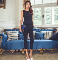 seksi iş kadın moda toptan satış-Kadınlar için moda Kadın Biçimsel Büro İş İş Elbiseleri Pantolon Suit Mavi Siyah Slim Fit Seksi Elegant Pant Suit Sonbahar