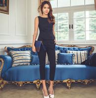 fatos de escritório venda por atacado-Moda Womens Formal Escritório Desgaste do Trabalho de Negócios OL Calças Terno Azul Preto Slim Fit Sexy Elegante Pant Suits Outono para As Mulheres