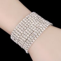 Wholesale cheap silver bangles - Free Ship Cheap 3 Row Stretch Bangle Silver Rhinestones Cute Prom Homecoming Wedding Party Evening Jewelry Bracelet Bridal Accessories