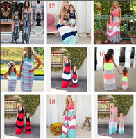 Wholesale Red 12 Mo Dresses - Mother And Daughter Dresses Summer Navy Style Striped Long Dress Fashion Mom And Baby Clothing Sleeveless Vest Stitching Dress OVer 20style