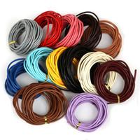 cuerda de cuero 3mm al por mayor-3mm 5m Color Múltiples Cordones de Cuero Genuino Joyería Abalorios Cuerda Cuerda Cuerda Para Hacer Collar de Pulsera