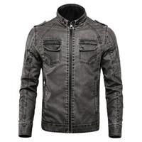 4xl erkek deri kış ceketi toptan satış-Yeni Kış Ceket Erkekler Standı Yaka Deri Ceketler Artı Kadife Yıkanmış Retro Pu Deri Ceket Erkek Kalınlaşmak Sıcak Palto Artı Boyutu