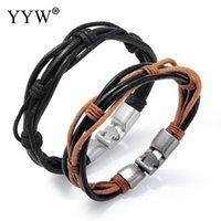 handmade кожаные браслеты рок оптовых-Vintage Multilayer Leather Bracelet Men Fashion Black Brown Braided Handmade Rope Wrap Bracelets & Bangles Punk Rock Male Gift