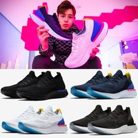 Wholesale Womens Designer Snow Boots - 2018 Epic React Running Shoes For Mens womens Newest Designer Triple Black White Oreo Blue Breathable Mesh Casual Sport Sneakers Eur 36-45