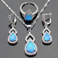 96e63e838 Discount silver blue opal ring - whole saleAustralia Blue Opal White Stones  Silver Color Jewelry Sets
