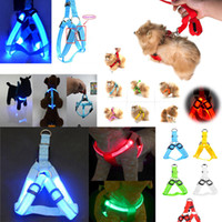 ingrosso cablaggio per i cani-Nylon Dog Pet Harness Cat Safety LED Guinzaglio leggero Guinzaglio collare a cintura Gilet Pet Dog Cat Safety LED Flashing Harness BBA309
