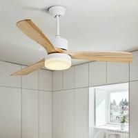 luz de ventilador de madeira venda por atacado-Nordic criativa LED Ventilador de teto Por Sala 220V madeira ventiladores de teto com luzes de 42 polegadas Blades resfriamento Fan Lâmpada remoto