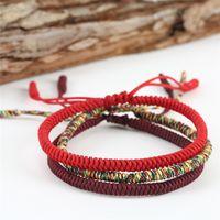 tibetische armbänder rot großhandel-Romad Tibetischen Buddhistischen Glücksbringer Rote Schnur Seil Armbänder Armreifen Für Frauen Männer Handgemachte Knoten Schwarz Seil Weihnachtsgeschenk R5ER