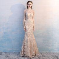 a49f61c7d4 Elegante vestido de noche con abalorios de encaje de champán Vestidos de  noche de sirena 1 2 manga joya mujeres del cuello escarpado vestido de  fiesta ...