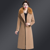 2018 winter wool coat women 5XL long fur collar double-faced cashmere coat Blends Sashes Slim Pockets Outerwear