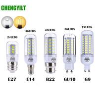 Wholesale e14 48 smd - E27 E14 SMD 5730 LED Lamp 7W 12W 15W 18W 220V 110V Corn Light LED Bulbs Chandelier 36 48 56 69 72 LEDs