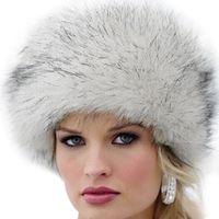 Wholesale Green Fox Fur - 2017 New Fashion Winter Women Faux Fur Cap Fluffy Fox Fur Hats Headgear Russian Outwear Girls Raccoon Beanies Cap Hat W0