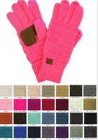 Wholesale CC Knitted Touch Screen Gloves Winter CC knitting Touch Screen Smart Cellphone Five Fingers Gloves pair