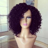 afro perücken zum verkauf großhandel-billig Hitzebeständige reizvolle natürliche schwarze kurze Haare der heißen Verkäufe synthetische Afroperücke der kinky lockigen Spitzefrontperücke schnitt Frauenperücken auf Cosplay Perücke auf Lager