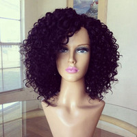 Wholesale sexy black hair women - cheap Hot sales synthetic Afro kinky curly lace front wig heat resistant sexy natural black short hair cut women wigs in stock cosplay wig
