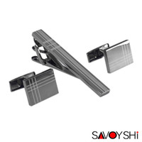 Wholesale black clip ties online - Savoyshi Classic Square Black Laser Stripe Bussiness Mens Jewelry Cufflinks Tie Clips Set High Quality Necktie Pin Tie Bars Clip Clasp
