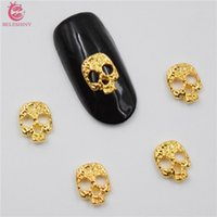 Wholesale nails studs for sale - 50Pcs new Golden skull nail stickers D Metal Alloy Nail Art Decoration Charms Studs Nails d Jewelry nail supplies BY002