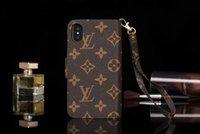 carteira da caixa do telefone móvel da forma venda por atacado-Capa de couro de impressão de moda de luxo para iPhone X XS Max XR 2019 8 7 6 6 S Plus carteira de telefone móvel case para Galaxy S10 S9 S8 Plus Note10 9 8