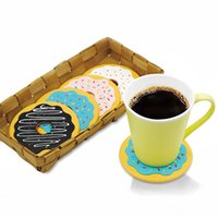Wholesale kitchen hot pads - Creative Silicone Coasters Round Donuts Cookies Shape Cup Mats Non Slip Thermal Insulation Kitchen Pads Hot Sale 18kb BB