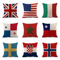 travesseiros bandeira venda por atacado-Fronha 45 * 45 cm 2018 Rússia World Cup Home Decor Bandeira Nacional Lance Capa de Almofada Travesseiros De Futebol Travesseiro Cobre Almofadas Ao Ar Livre 120 pcs OOA5003