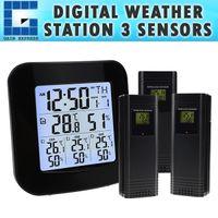 termómetro digital inalámbrico para exteriores al por mayor-Estación meteorológica digital WEA-46 con termómetro e higrómetro, con 3 sensores inalámbricos para interiores / exteriores con reloj despertador de temperatura