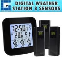 kapalı dış sıcaklık kablosuz toptan satış-Termometre ve Higrometre ile WEA-46 Dijital Hava İstasyonu, Sıcaklık için Çalar Saat ile 3 Kapalı / Açık Kablosuz Sensörler