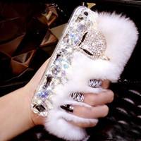 galaxie s5 telefon rhinestone fall großhandel-Für Samsung Galaxy s5 s6 s7 s8 s9 plus Diamond Fox Fur Pelzige Kristall-Handyhülle