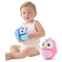 Wholesale tooth doll - New Arrival Baby Toy Rattles Nodding Tumbler Doll Toy Develop Baby Intelligence Moving Eyes Hand Bell Rattle Soft Teeth Glue Baby Toys