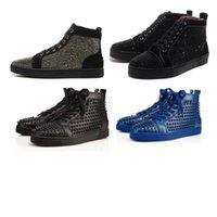 Wholesale full leather shoes for men online - Red Bottoms Designer Boots Brand Studded casual Shoes Designer Sneaker Brand Flats shoes For Men Women Party Lovers Genuine Leather Sneakers