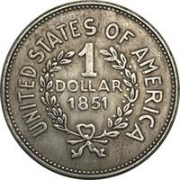 ingrosso testa in ottone-Stati Uniti d'America 1851 1 moneta da un dollaro con testa d'argento Liberty in ottone placcato