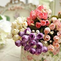 perle en mousseline de fleurs artificielles achat en gros de-Fleur artificielle 15 étoiles bractée tête rose bourgeon chiffon de soie bractée perle rose bourgeons de mariage Bractée simulation fleurs étoiles d'automne