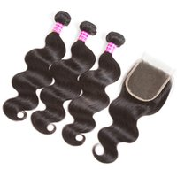 Wholesale human hair bundle sales resale online - 2018 hot sale brazilian virgin hair bundles body wave straigh with middle free part x4 lace closure human hair weave inch
