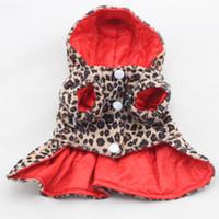 robe d'usure supplémentaire achat en gros de-Animaux Chiens Motif Léopard Tutu Manteau Robe Chiot Hoodies Les Deux Côtés Portent Des Vêtements De Chien