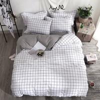 literie rose blanche noire achat en gros de-Ensemble de literie Housse de couette drap de lit Taie d'oreiller à rayures carrées Textile maison noir Blanc
